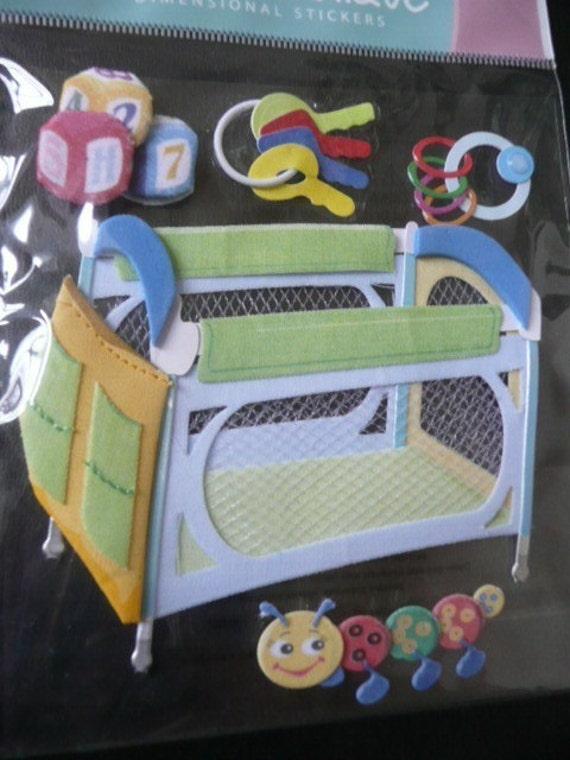 BABY PLAY PEN Jolee's Boutique Scrapbooking Supplies stickers - Toys, Caterpiller, Keys