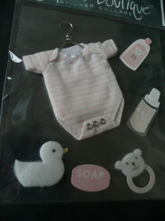 BABY GIRL Jolee's Boutique 3d Scrapbooking stickers -  Onsie, Clothes on metal hanger, duckie, pin, and baby accessories
