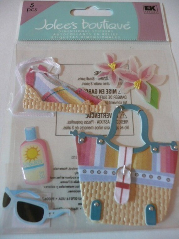 BEACH BABE Jolee's Boutique Scrapbooking Supplies Stickers- Summer Fashion, shoes, sunglasses, beach bag, flowers