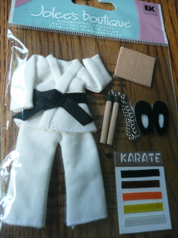 NEW KARATE Jolees Boutique 3d dimensional stickers - Karate nunchucks, board, slippers