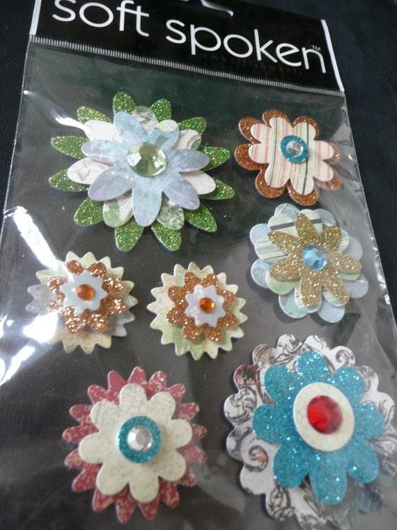 LAYERED FLOWERS Soft Spoken Scrapbooking Supplies Stickers- Retro, Gems, Summer