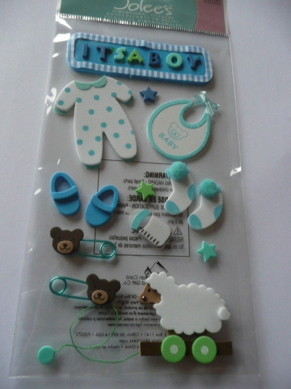 FOAM BABY BOY Jolee's Boutique Scrapbooking Supplies Stickers- Pins, Booties, Stars