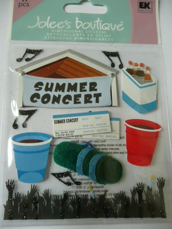 SUMMER CONCERT Jolee's Boutique Scrapbooking Supplies stickers - Band, guitar, music