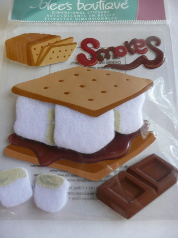 SMORES Jolee's Boutique 3d Scrapbooking stickers -Chocolate, Marshmellows, Treats, Camp fire CUTE