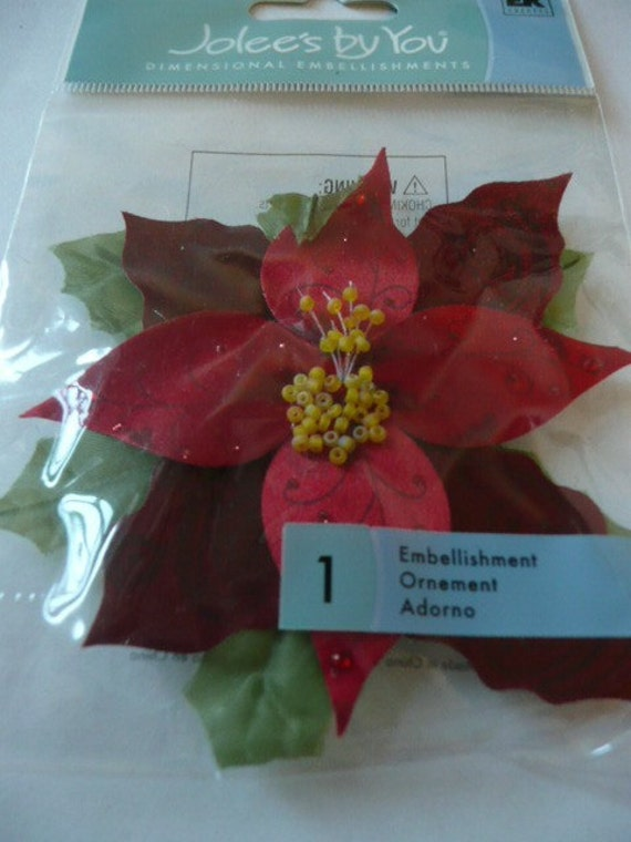RED POINSETTIA - Jolee's Boutique Scrapbooking Supplies Stickers - Christmas, Holidays, Flower