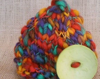 Funky Button Hat Newborn Knit-- Great Photography Prop--Ready to ship-- Jewel w/ Lime Button