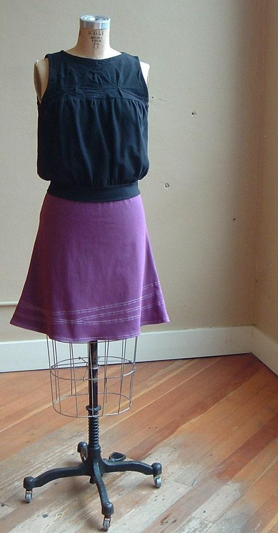 Cotton Jersey Dahlia Purple Line Skirt