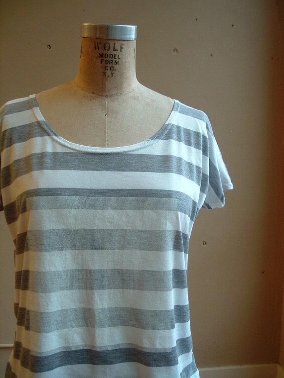 Top Grey and White Stripe Cotton Jersey with Square- large