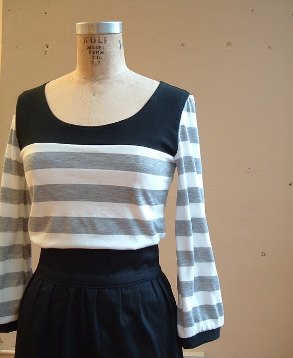 Stripe Top Black Grey and White Jersey- large