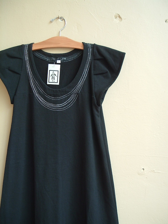 Necklace Dress Black Cotton Jersey Spring Fashion- made to order