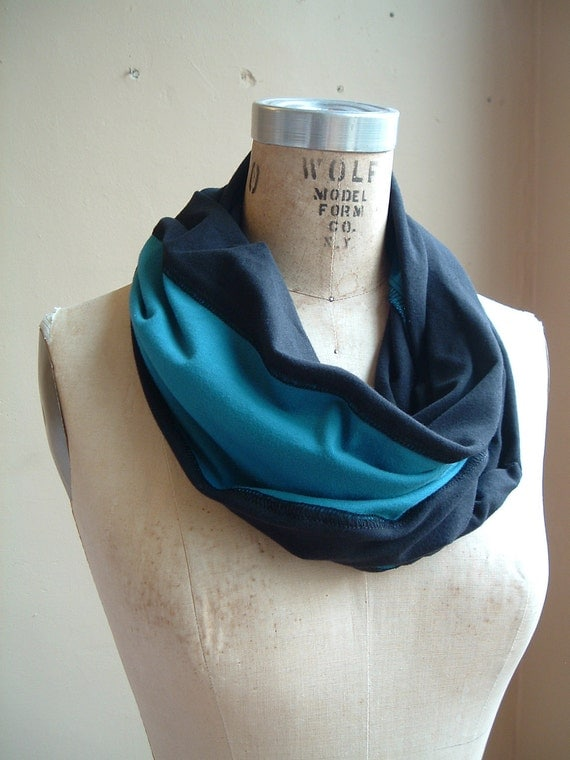 Scarf black and turquoise Jersey