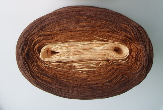 TOFFEE III - Mega Skein - Color Changing Cotton yarn  180 gr/865 yards  Fingering Weight