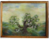 An Old Quince Tree - wool fiber art, wall hanging, wool picture
