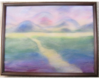 Landscape in Rainbow Colors - wool fiber art, wall hanging, wool picture