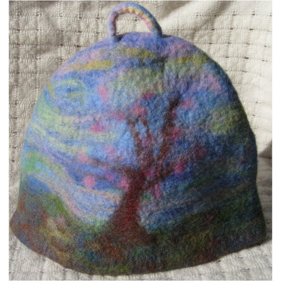 Tea cozy  - tea cosy - teapot cozy - teapot cosy - with a blooming tree, needle felted