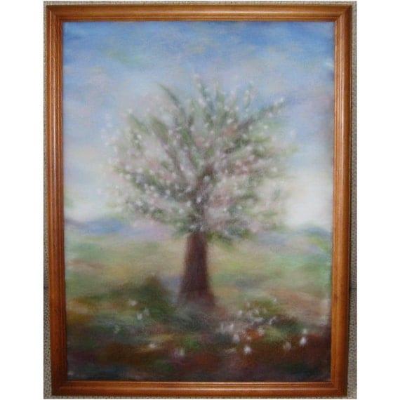 Cherry tree in bloom - wool fiber art, wall hanging, wool picture