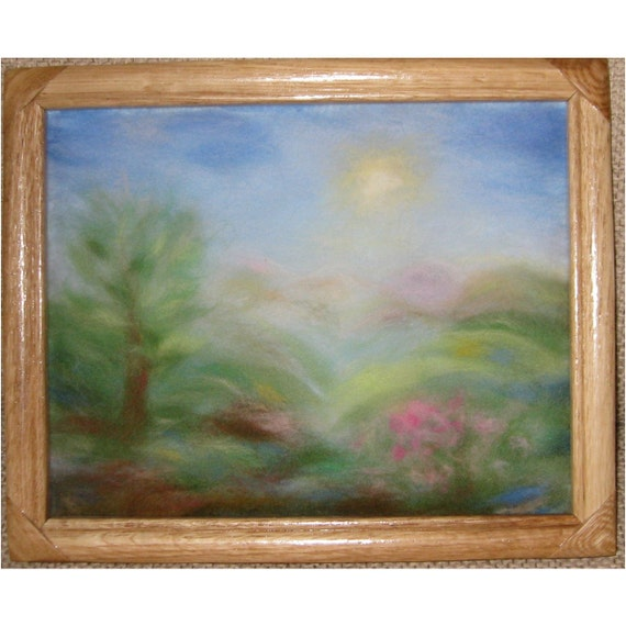 A sunny day in the mountains  - wool fiber painting, wool picture, wall hanging