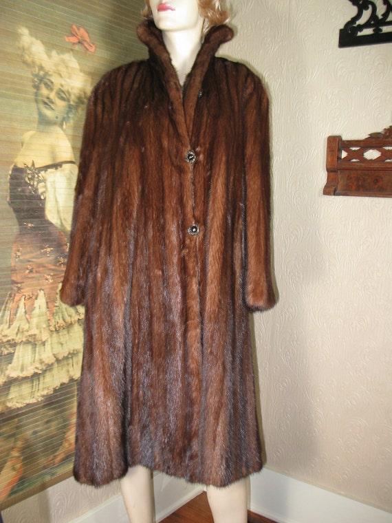 SALE was 225 vintage 40's early 50's genuine mink fur coat 46 bust