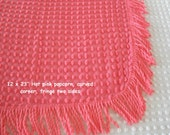 "Vintage Chenille, hot pink popcorn, 12"" x 23"" fabric piece, with fringe"