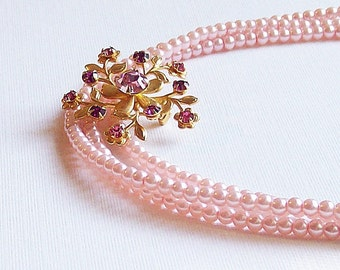 Necklace Vintage Brooch  Pink and Gold