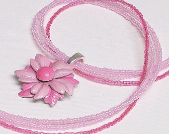 Necklace Pink Vintage Flower and Seed Beads