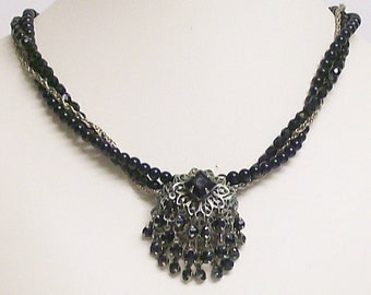 Necklace Black Glass Pearl and Crystal with Vintage