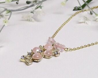 Necklace Rose Quartz with Vintage