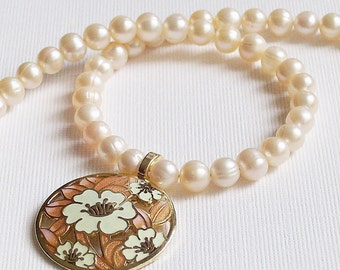 Necklace Pearls and Enameled Peachy Pink