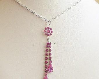 Vintage Charm Necklace Pink Rhinestone