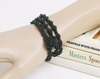 Black Macrame Wrap Bracelet, Beaded Hemp Twisted