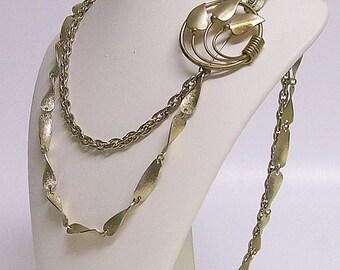Necklace/Brooch Vintage Golden Leaves