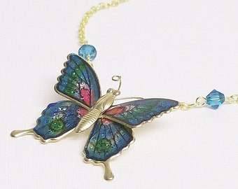Necklace Vintage Butterfly Brooch Teal