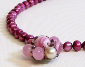 Necklace Vintage Glass Beads and Freshwater Pearls Deep Pink