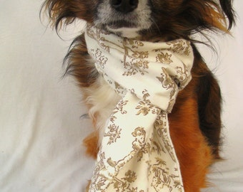 Pet Dog Scarf-Tan and Cream Toile-twaw-Flannel-Extra Long