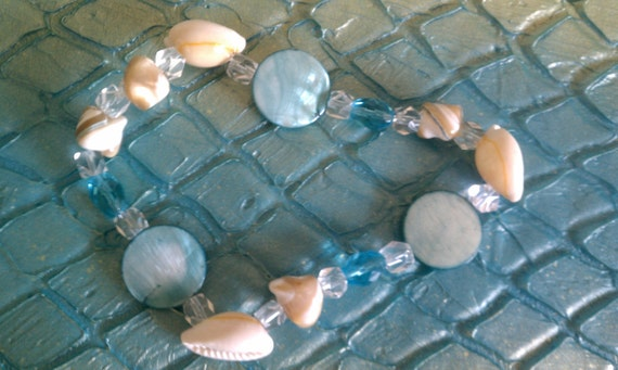 Emily Angelfish Sexy Aqua MERMAID Shell Crystal Glass Arm Bracelet or Anklet Hot Wear HIGH on your Arm OOAK