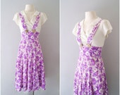 R E S E R V E D for  Jamie 1930s dress / 30s 40s floral cotton deco overall sundress