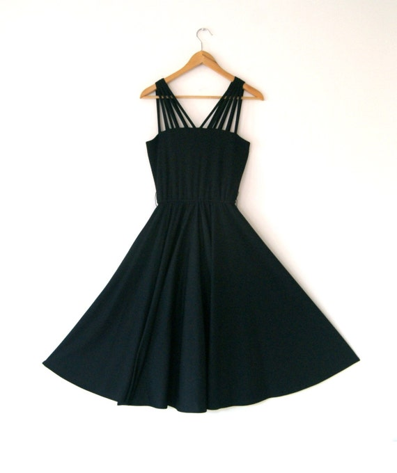 Vintage Black Swing DRESS Size Small 4 to 6