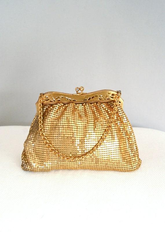 FREE SHIPPING 1930s gold mesh purse / whiting and davis mini bag