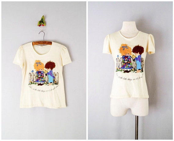 70s embroidered shirt / cream t-shirt small / Free Love Tee