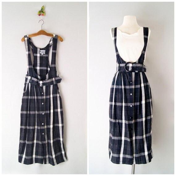 FINAL SALE 90s dress / belted apron dress