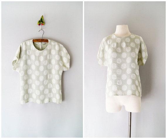 90s top // polka dot oversized blouse