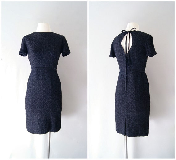 60s dress / black textured wiggle cocktail dress /  Party in the Back
