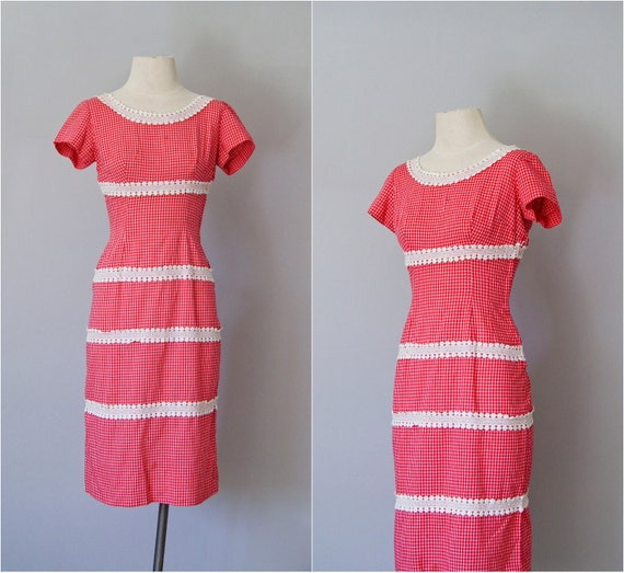 50s dress / 1950s cotton wiggle sundress / Endless Summer dress