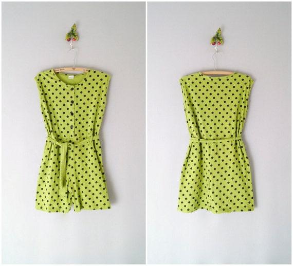 90s romper / polka dot cotton jumpsuit / Dot Gain onesie