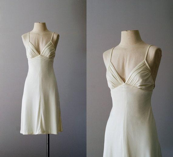 70s dress / 1970s ivory jersey sundress / Côte d'Ivoire dress