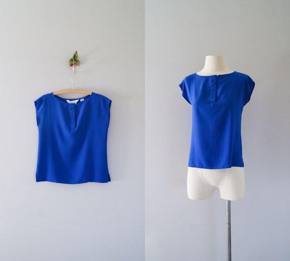 80s silk top / 1980s silk blouse / Cobalt shirt