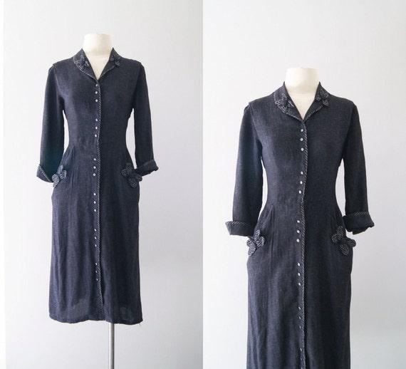 40s dress / 1940s charcoal shirtwaist dress / As Days Go By dress
