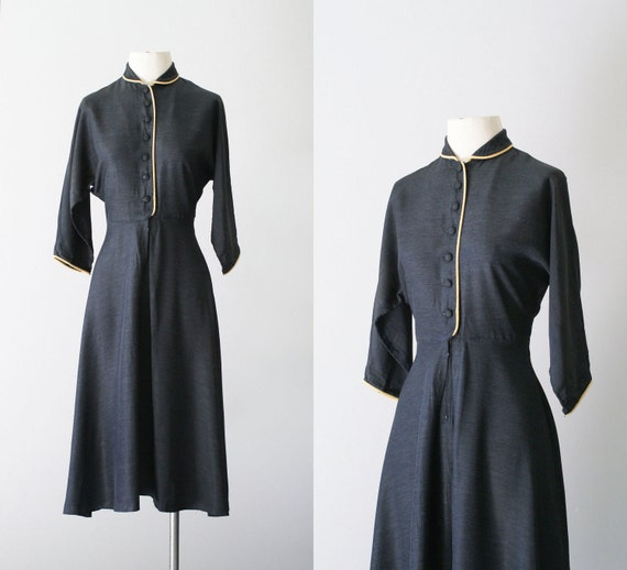 40s dress / 1940s rayon shirtwaist dress / Chalkboard dress