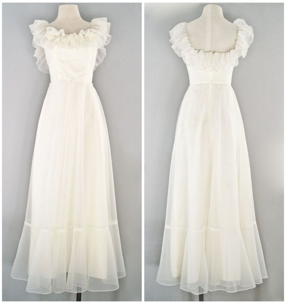 Vintage wedding dress 70s prairie bridal for 70s inspired wedding dress
