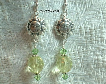 Sunshine Earrings - Sterling Silver and Crystal